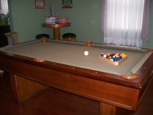 Pool Table Is In Excellent Shape, Only A Couple Years Old. Lighting Makes  The Felt Appear Tan, But Is Is Actually Green.
